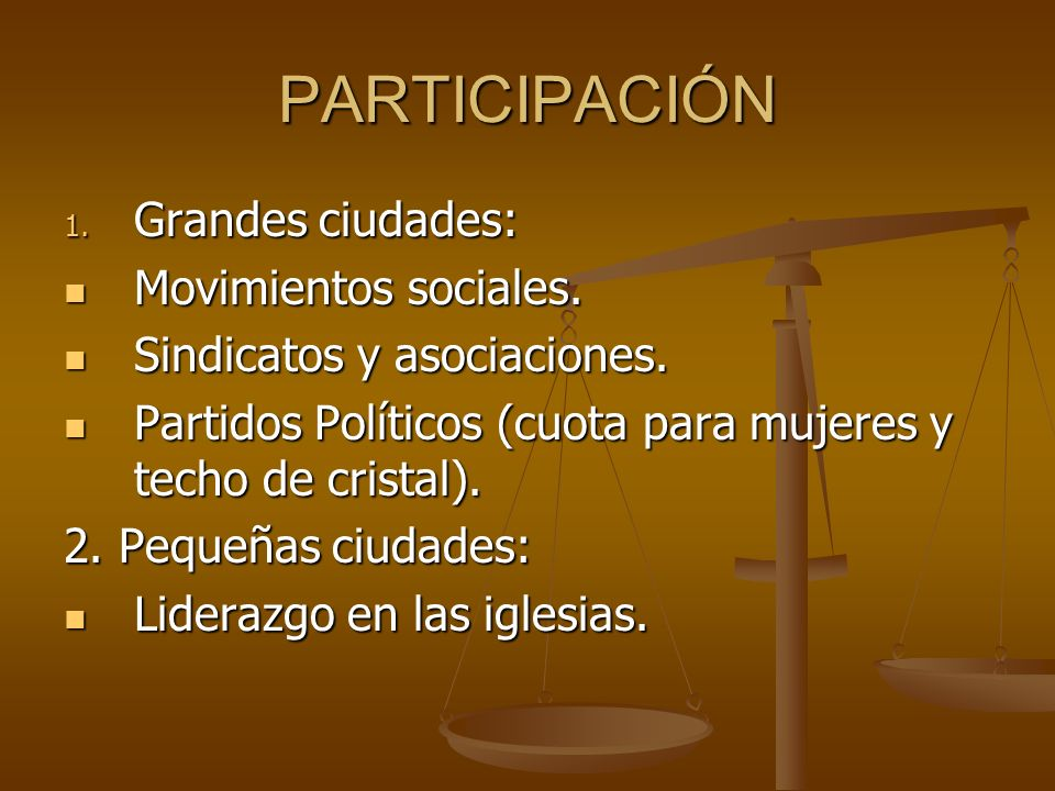PARTICIPACIÓN 1. Grandes ciudades: Movimientos sociales. Movimientos sociales. Sindicatos y asociaciones. Sindicatos y asociaciones. Partidos Político