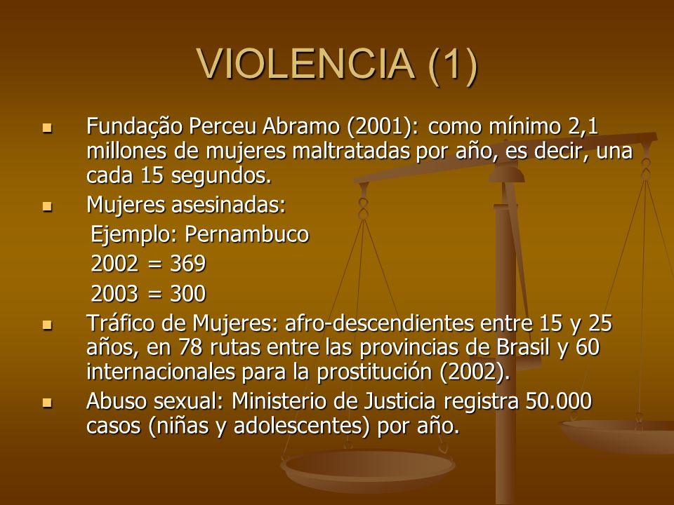 VIOLENCIA (1) Fundação Perceu Abramo (2001): como mínimo 2,1 millones de mujeres maltratadas por año, es decir, una cada 15 segundos. Fundação Perceu