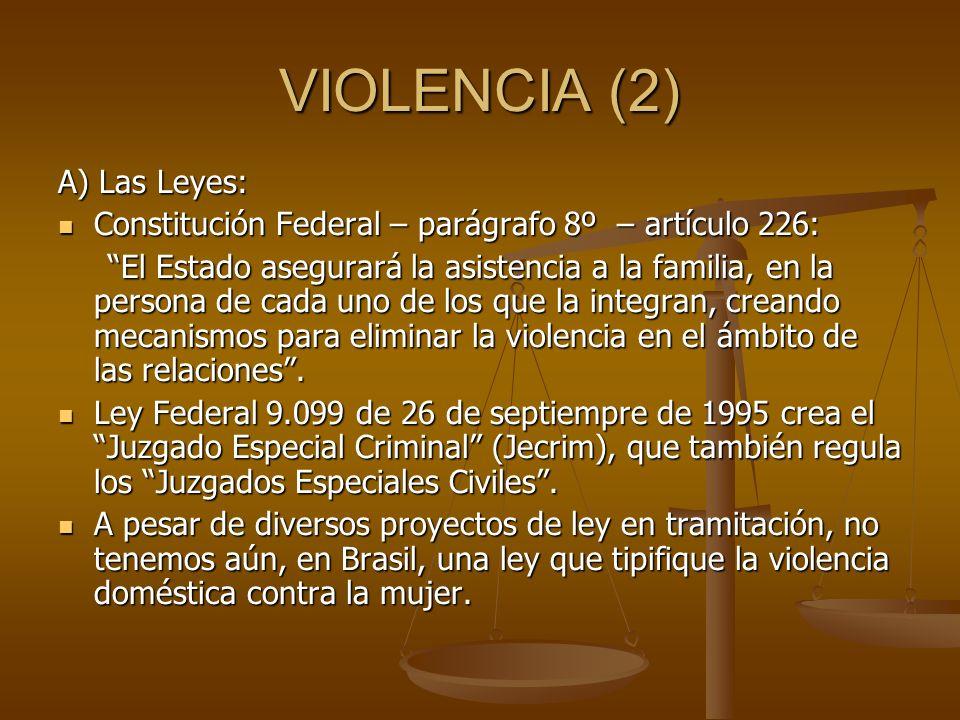 VIOLENCIA (2) A) Las Leyes: Constitución Federal – parágrafo 8º – artículo 226: Constitución Federal – parágrafo 8º – artículo 226: El Estado asegurar