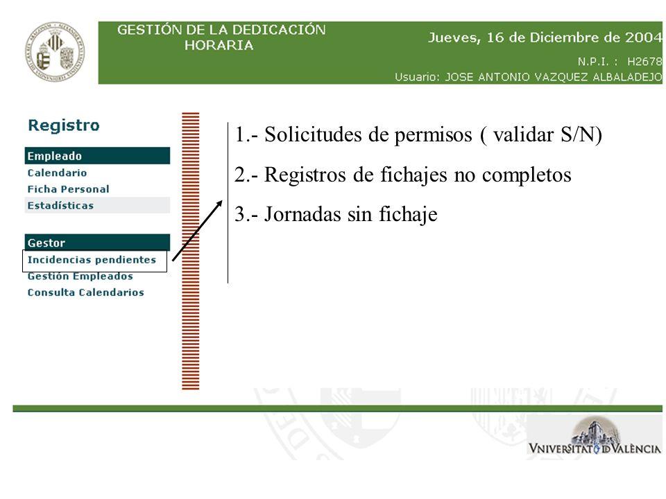 1.- Solicitudes de permisos ( validar S/N) 2.- Registros de fichajes no completos 3.- Jornadas sin fichaje