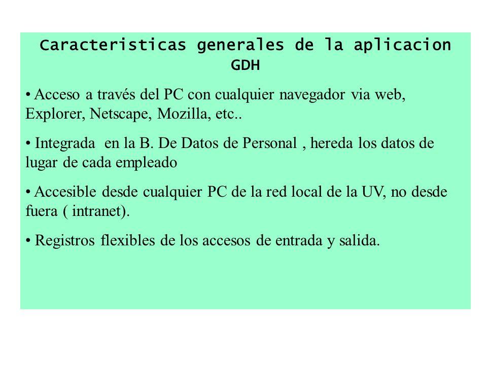 Caracteristicas generales de la aplicacion GDH Acceso a través del PC con cualquier navegador via web, Explorer, Netscape, Mozilla, etc.. Integrada en