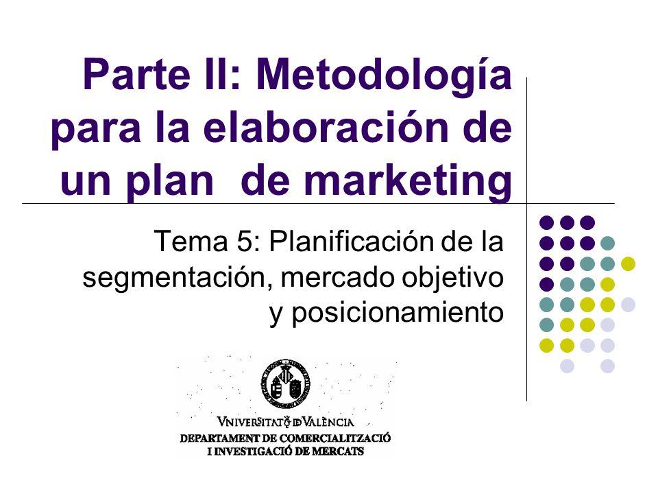 Parte II: Metodología para la elaboración de un plan de marketing Tema 5: Planificación de la segmentación, mercado objetivo y posicionamiento