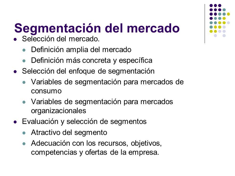 Segmentación del mercado Selección del mercado. Definición amplia del mercado Definición más concreta y específica Selección del enfoque de segmentaci
