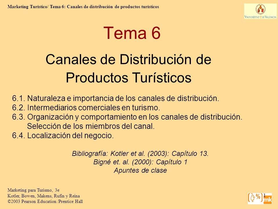 Marketing Turístico/ Tema 6: Canales de distribución de productos turísticos Marketing para Turismo, 3e Kotler, Bowen, Makens, Rufin y Reina ©2003 Pearson Education /Prentice Hall 2 ¿Qué es un canal de distribución.