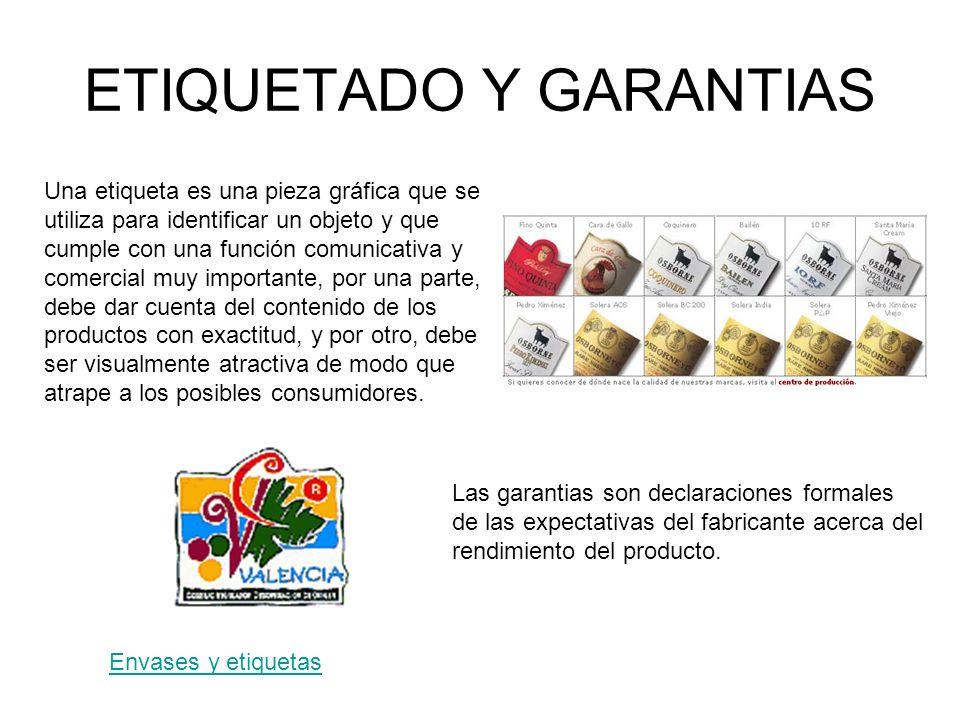 ETIQUETADO Y GARANTIAS Una etiqueta es una pieza gráfica que se utiliza para identificar un objeto y que cumple con una función comunicativa y comerci