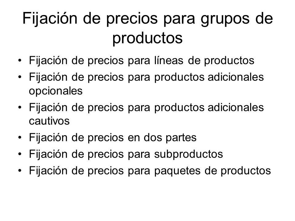 Fijación de precios para grupos de productos Fijación de precios para líneas de productos Fijación de precios para productos adicionales opcionales Fijación de precios para productos adicionales cautivos Fijación de precios en dos partes Fijación de precios para subproductos Fijación de precios para paquetes de productos