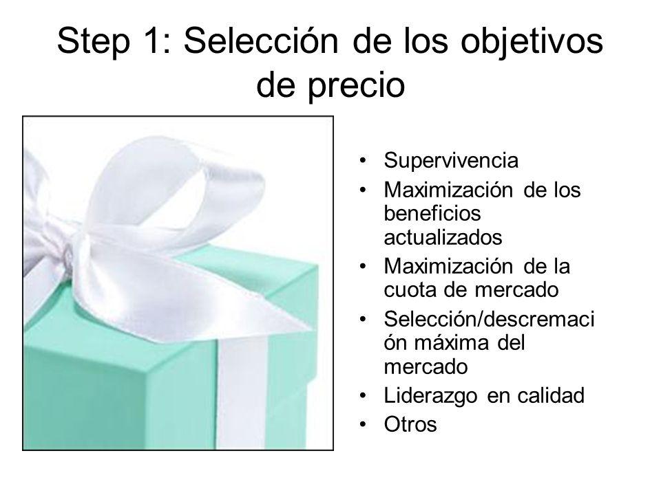 Step 1: Selección de los objetivos de precio Supervivencia Maximización de los beneficios actualizados Maximización de la cuota de mercado Selección/descremaci ón máxima del mercado Liderazgo en calidad Otros