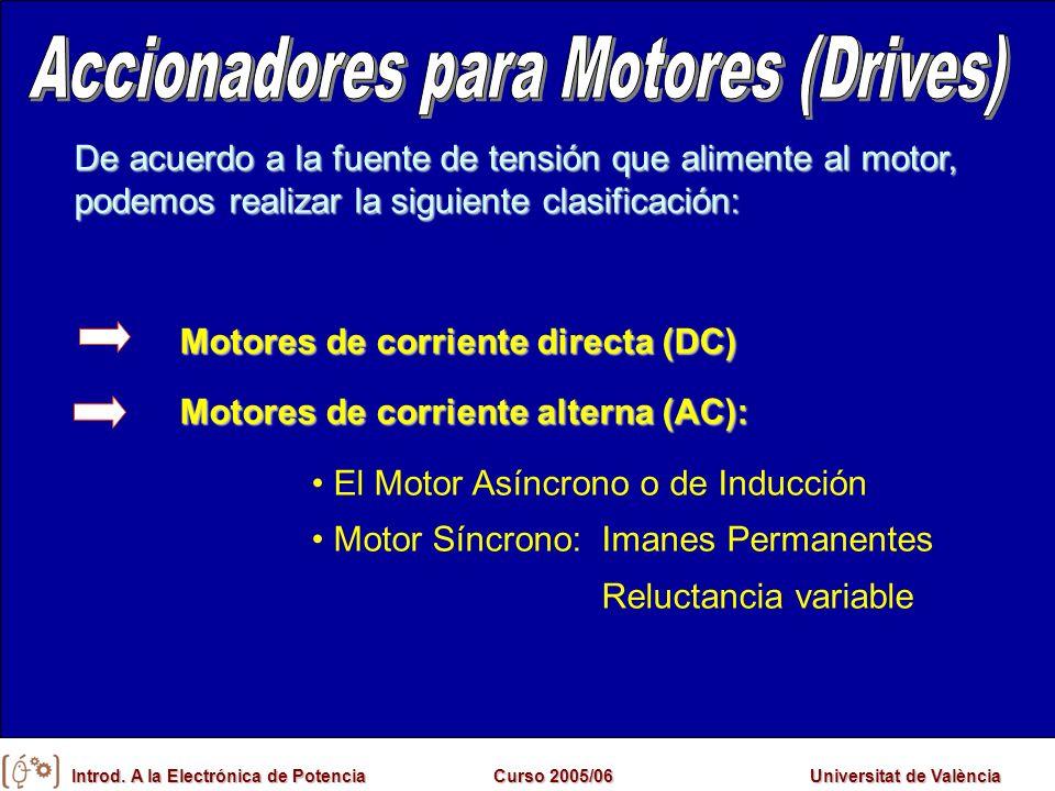 Introd. A la Electrónica de PotenciaCurso 2005/06Universitat de València De acuerdo a la fuente de tensión que alimente al motor, podemos realizar la