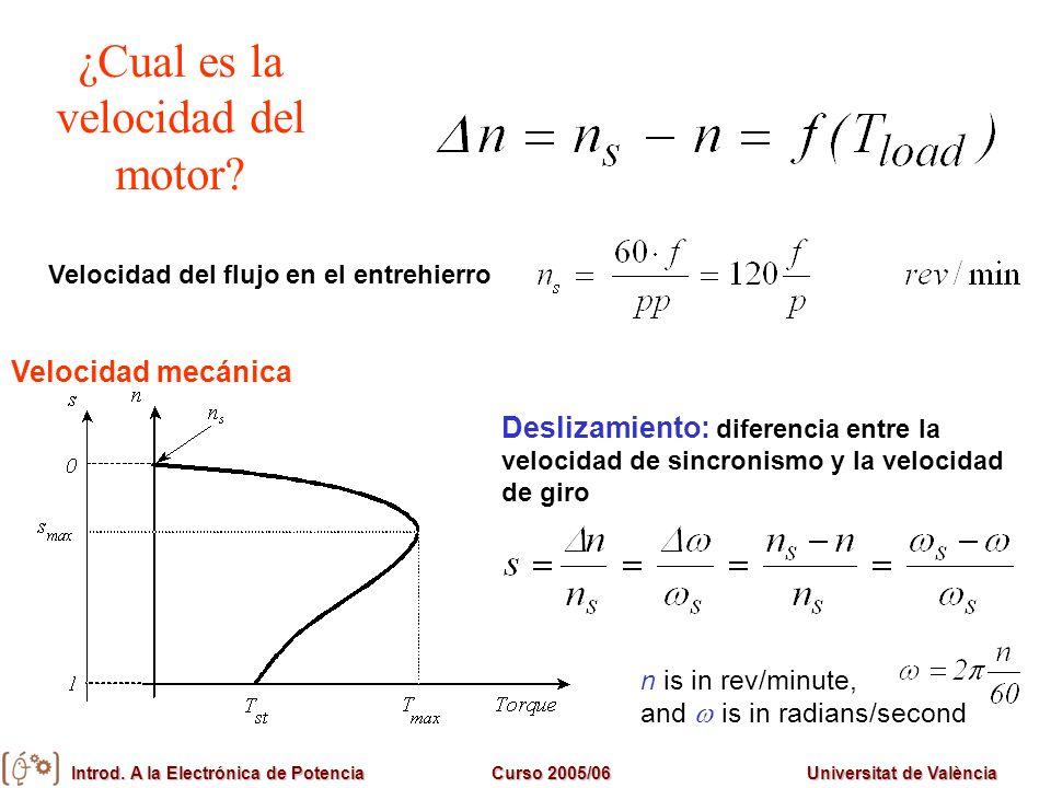¿Cual es la velocidad del motor? Deslizamiento: diferencia entre la velocidad de sincronismo y la velocidad de giro n is in rev/minute, and is in radi