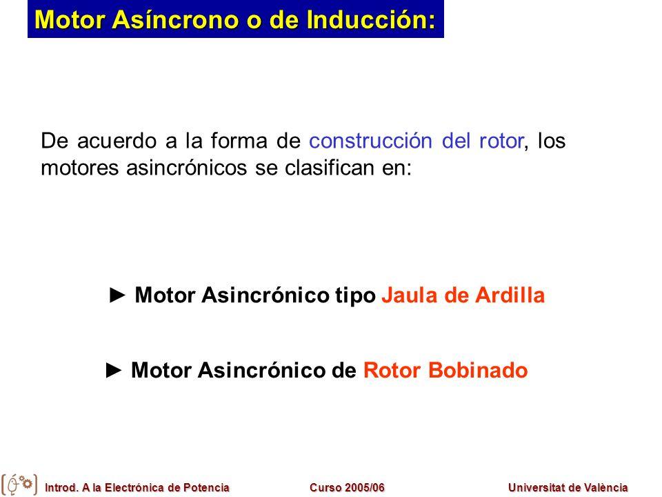 Introd. A la Electrónica de PotenciaCurso 2005/06Universitat de València De acuerdo a la forma de construcción del rotor, los motores asincrónicos se