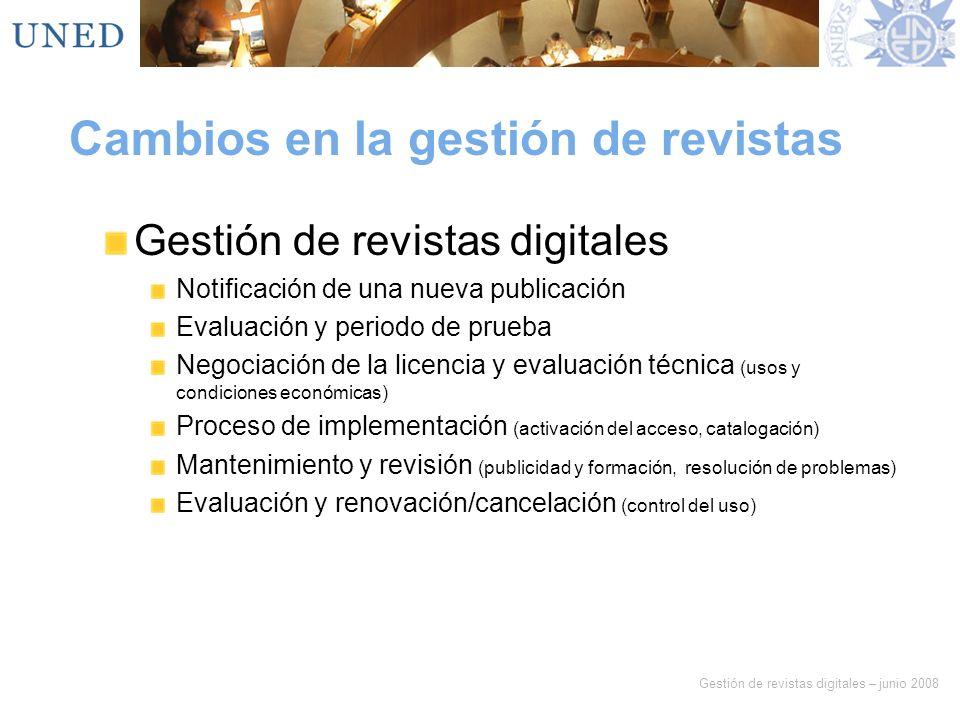 Gestión de revistas digitales – junio 2008 Cambios en la gestión de revistas Gestión de revistas digitales Notificación de una nueva publicación Evalu
