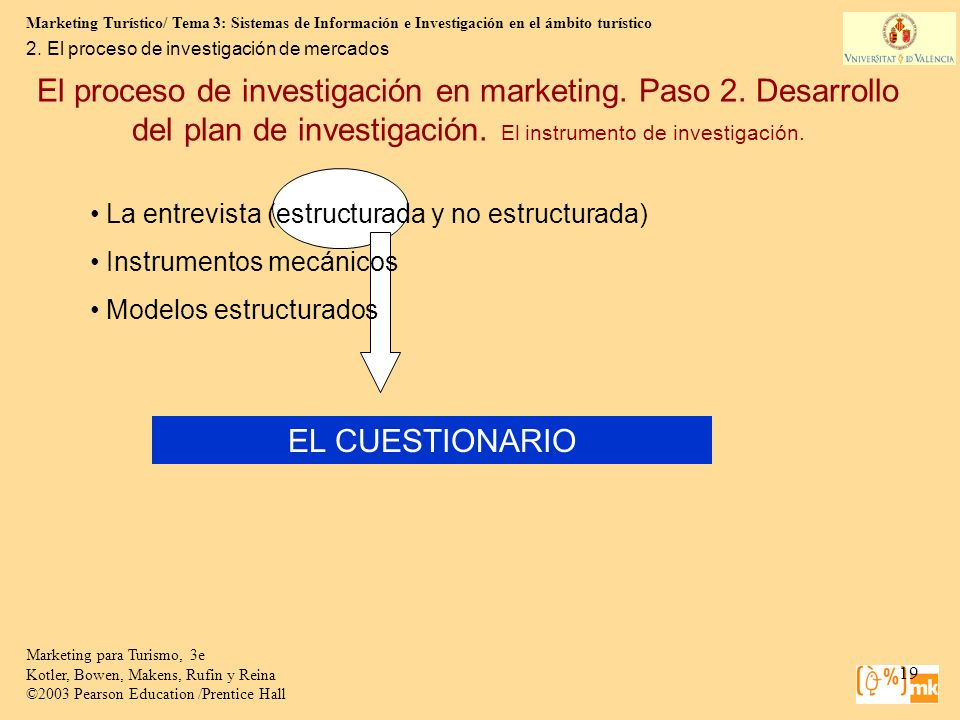 Marketing Turístico/ Tema 3: Sistemas de Información e Investigación en el ámbito turístico 19 Marketing para Turismo, 3e Kotler, Bowen, Makens, Rufin