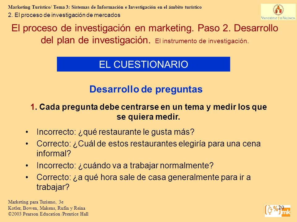 Marketing Turístico/ Tema 3: Sistemas de Información e Investigación en el ámbito turístico 20 Marketing para Turismo, 3e Kotler, Bowen, Makens, Rufin