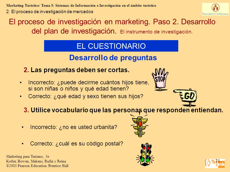 Marketing Turístico/ Tema 3: Sistemas de Información e Investigación en el ámbito turístico 21 Marketing para Turismo, 3e Kotler, Bowen, Makens, Rufin