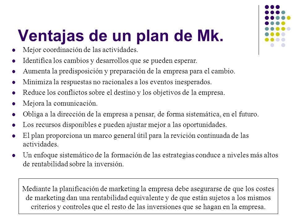 Ventajas de un plan de Mk. Mejor coordinación de las actividades. Identifica los cambios y desarrollos que se pueden esperar. Aumenta la predisposició