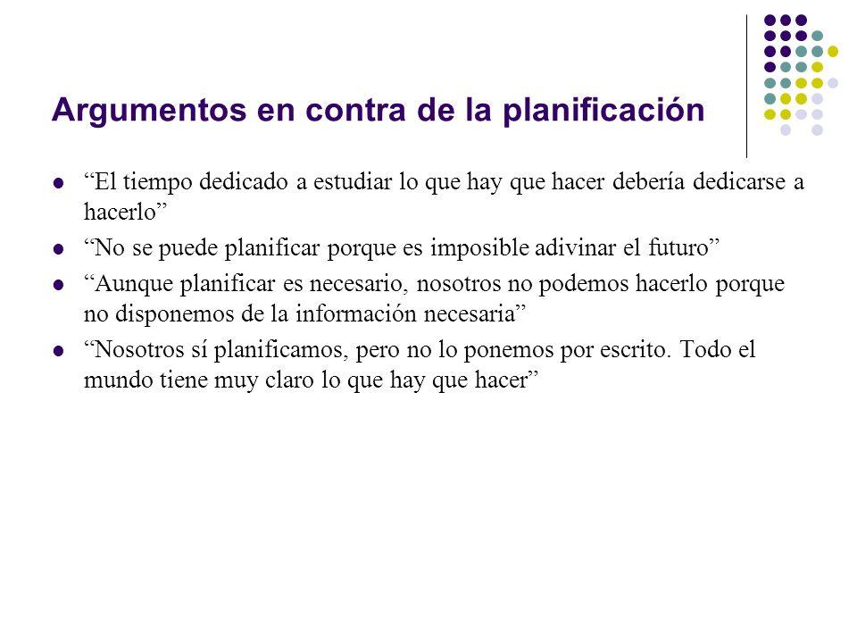 Argumentos en contra de la planificación El tiempo dedicado a estudiar lo que hay que hacer debería dedicarse a hacerlo No se puede planificar porque