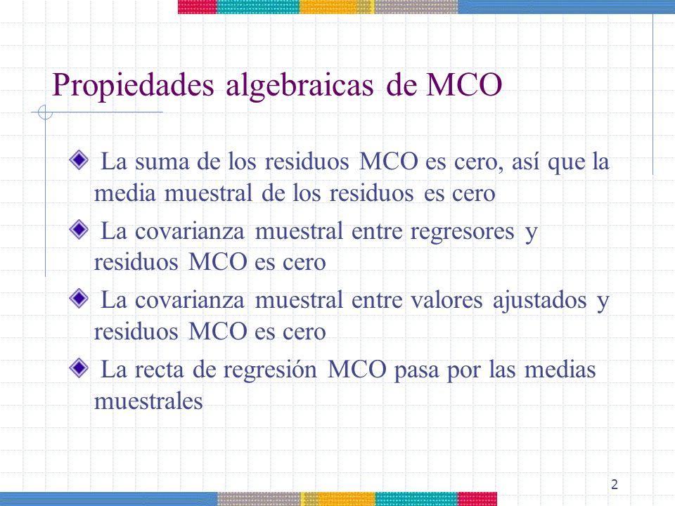 2 Propiedades algebraicas de MCO La suma de los residuos MCO es cero, así que la media muestral de los residuos es cero La covarianza muestral entre r