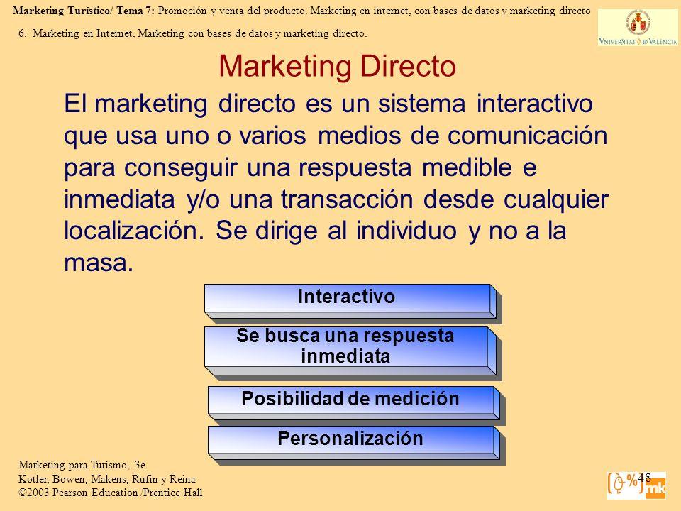 Marketing Turístico/ Tema 7: Promoción y venta del producto. Marketing en internet, con bases de datos y marketing directo Marketing para Turismo, 3e