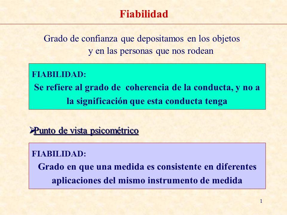 1 Fiabilidad Grado de confianza que depositamos en los objetos y en las personas que nos rodean FIABILIDAD: Se refiere al grado de coherencia de la co