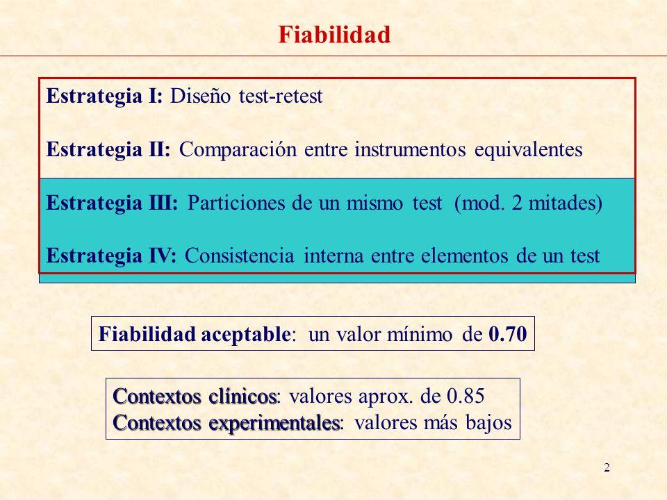 2 Fiabilidad Estrategia I: Diseño test-retest Estrategia II: Comparación entre instrumentos equivalentes Estrategia III: Particiones de un mismo test