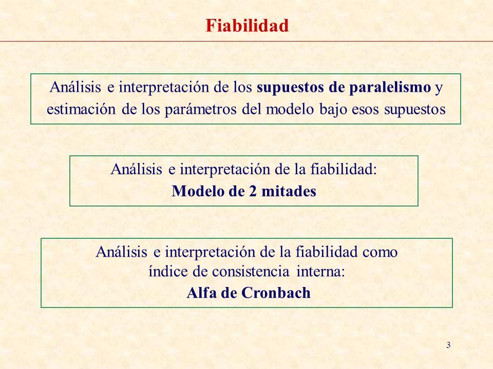 4 Fiabilidad Análisis e interpretación de los supuestos de paralelismo y estimación de los parámetros del modelo bajo esos supuestos PRÁCTICA: Cuestionario de PERSONALIDAD ANALIZAR/ ESCALAS/ ANALISIS DE FIABILIDAD / MODELO PARALELO ESTRICTO Instrucciones en SPSS