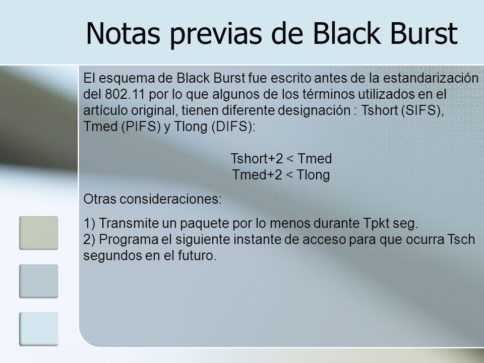 Algoritmo de Black Burst TmedTobs Si el canal se detecta como vacío durante un intervalo Tmed y se mantiene así durante los siguientes Tobs segundos, con Tobs > 2T, la estación tiene de acceso al canal.