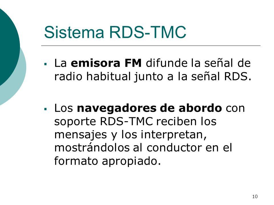 10 Sistema RDS-TMC La emisora FM difunde la señal de radio habitual junto a la señal RDS. Los navegadores de abordo con soporte RDS-TMC reciben los me