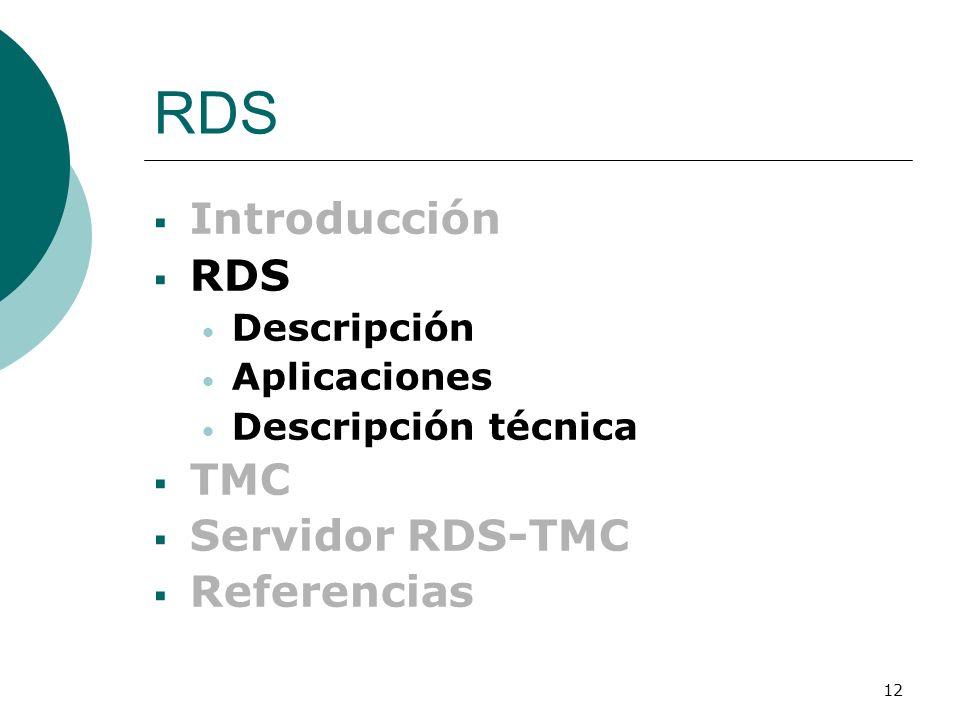 12 RDS Introducción RDS Descripción Aplicaciones Descripción técnica TMC Servidor RDS-TMC Referencias