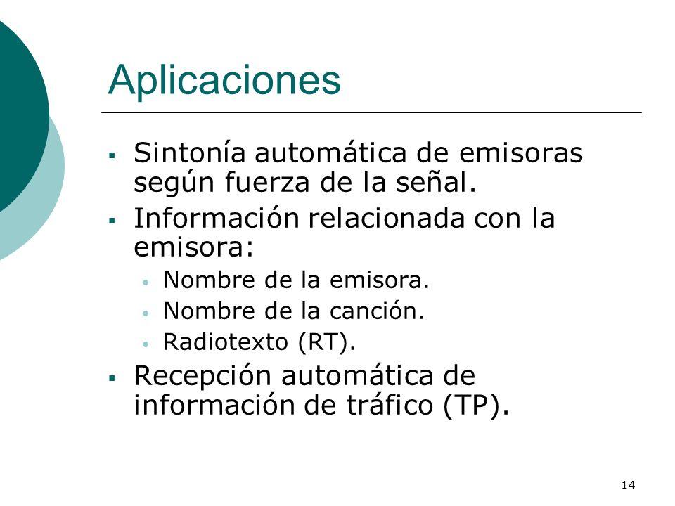 14 Aplicaciones Sintonía automática de emisoras según fuerza de la señal. Información relacionada con la emisora: Nombre de la emisora. Nombre de la c