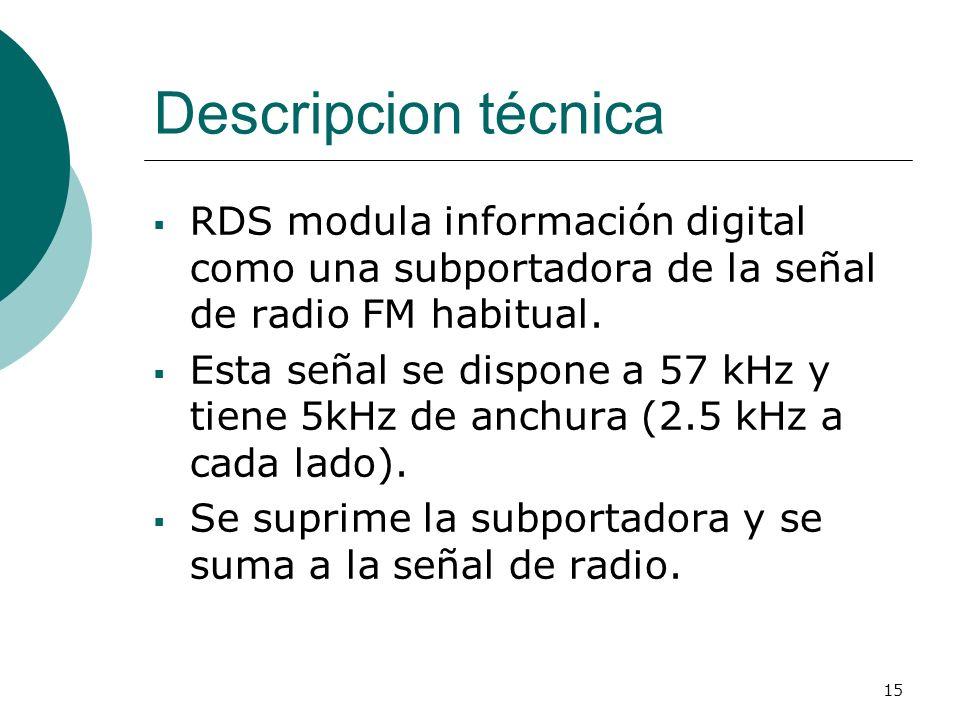 15 Descripcion técnica RDS modula información digital como una subportadora de la señal de radio FM habitual. Esta señal se dispone a 57 kHz y tiene 5