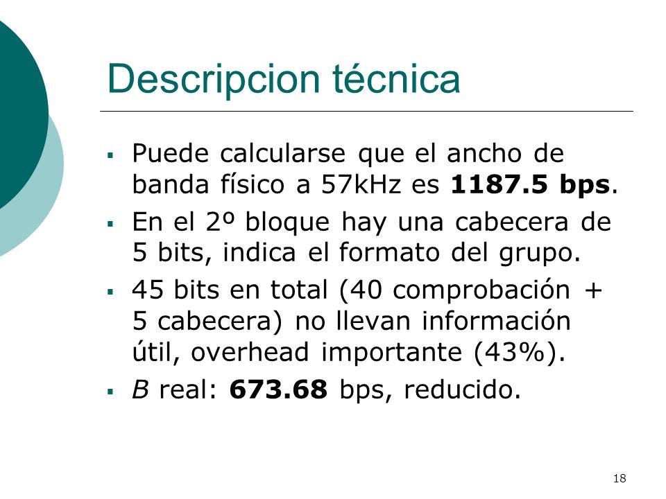 18 Descripcion técnica Puede calcularse que el ancho de banda físico a 57kHz es 1187.5 bps. En el 2º bloque hay una cabecera de 5 bits, indica el form