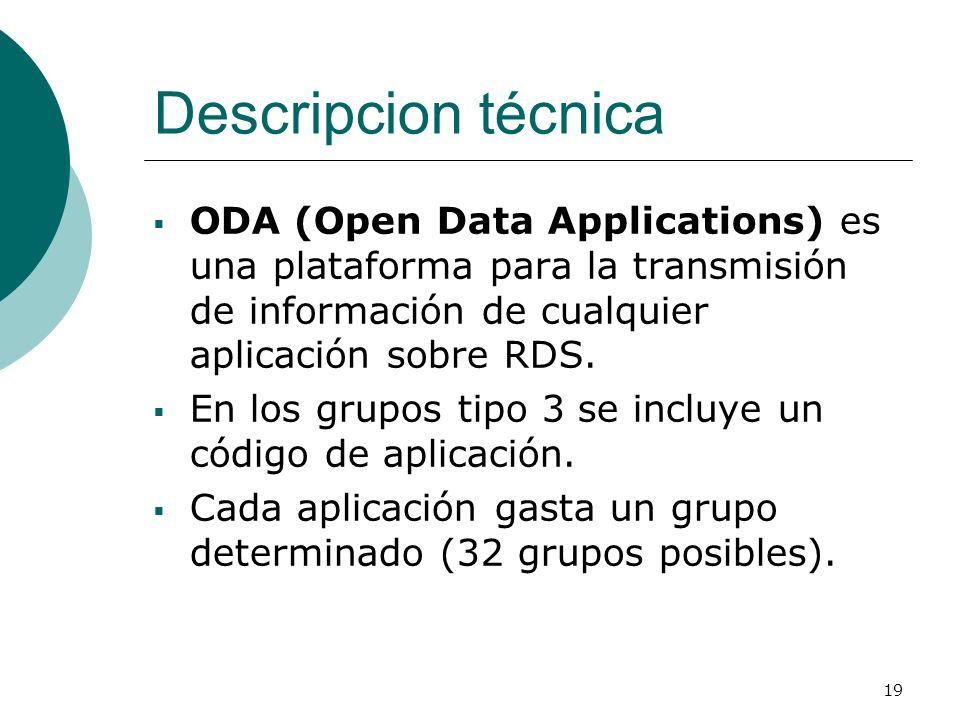 19 Descripcion técnica ODA (Open Data Applications) es una plataforma para la transmisión de información de cualquier aplicación sobre RDS. En los gru