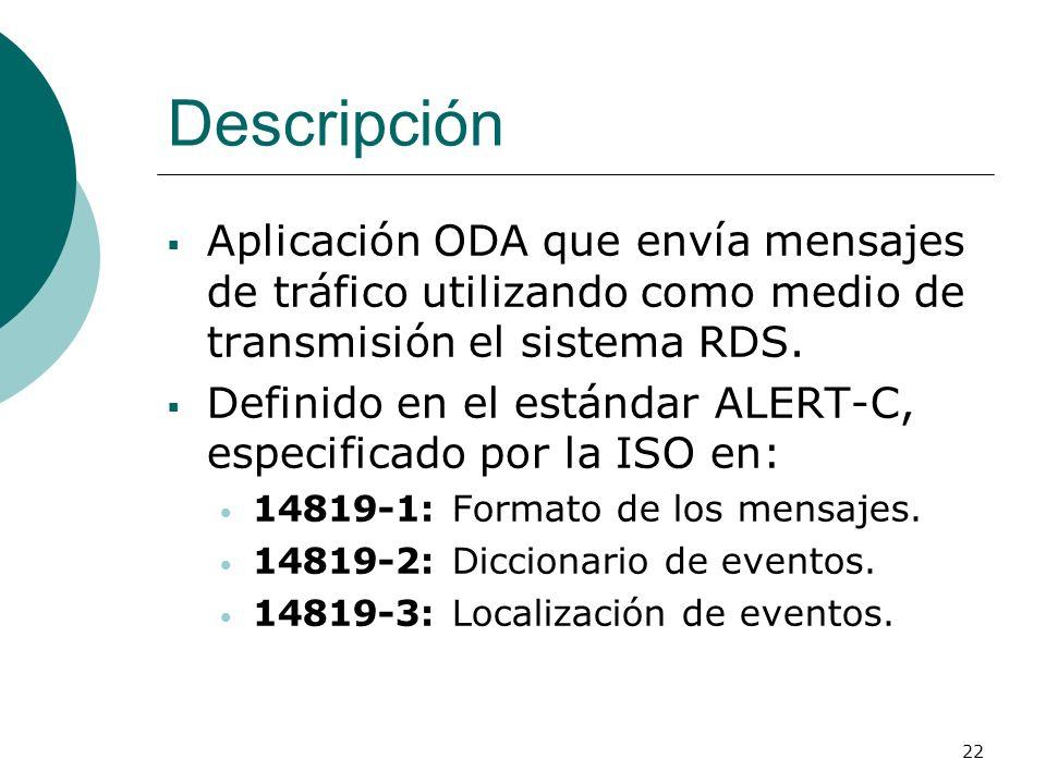 22 Descripción Aplicación ODA que envía mensajes de tráfico utilizando como medio de transmisión el sistema RDS. Definido en el estándar ALERT-C, espe