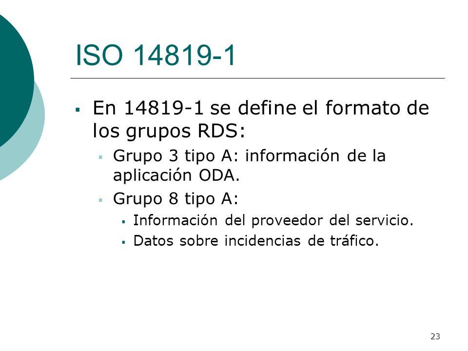 23 ISO 14819-1 En 14819-1 se define el formato de los grupos RDS: Grupo 3 tipo A: información de la aplicación ODA. Grupo 8 tipo A: Información del pr