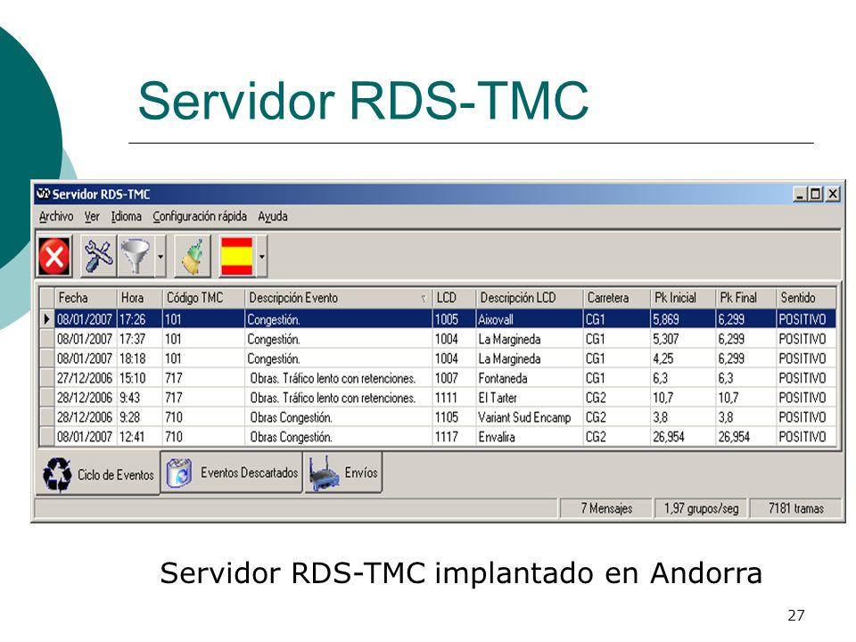 27 Servidor RDS-TMC Servidor RDS-TMC implantado en Andorra