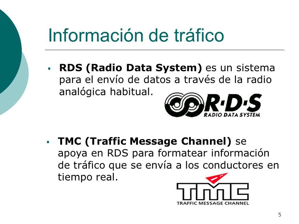 5 RDS (Radio Data System) es un sistema para el envío de datos a través de la radio analógica habitual. Información de tráfico TMC (Traffic Message Ch