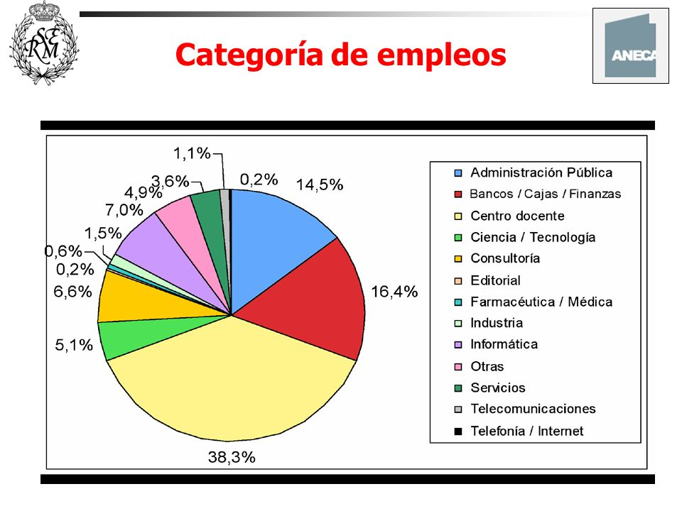 Categoría de empleos Más del 60% sin relación con la enseñanza