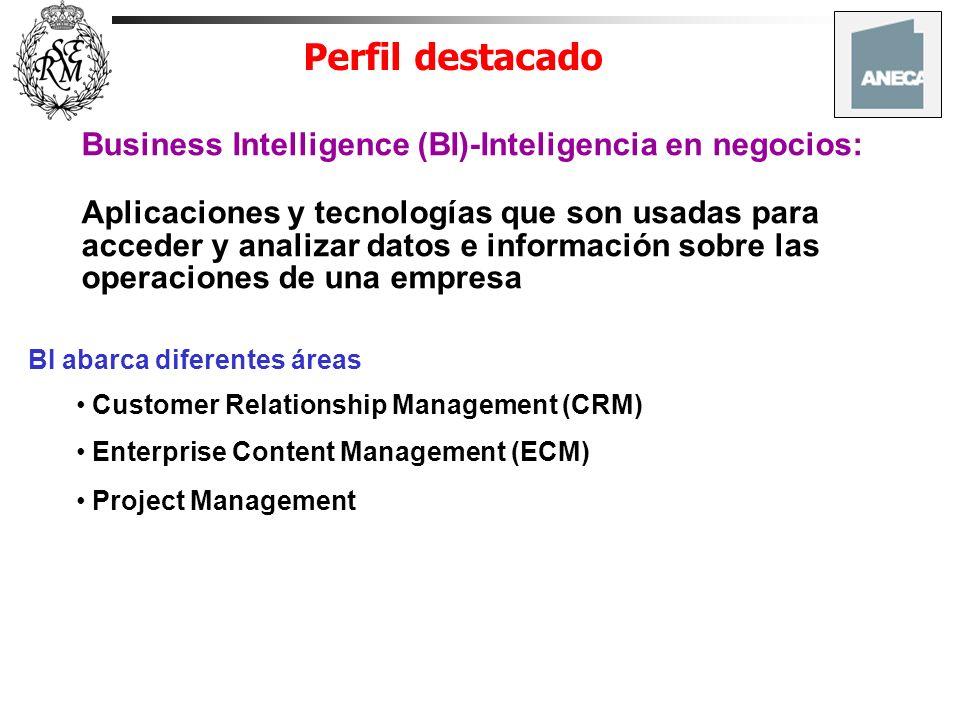 Perfil destacado Business Intelligence (BI)-Inteligencia en negocios: Aplicaciones y tecnologías que son usadas para acceder y analizar datos e inform