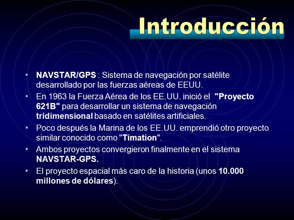 NAVSTAR/GPS : Sistema de navegación por satélite desarrollado por las fuerzas aéreas de EEUU. En 1963 la Fuerza Aérea de los EE.UU. inició el