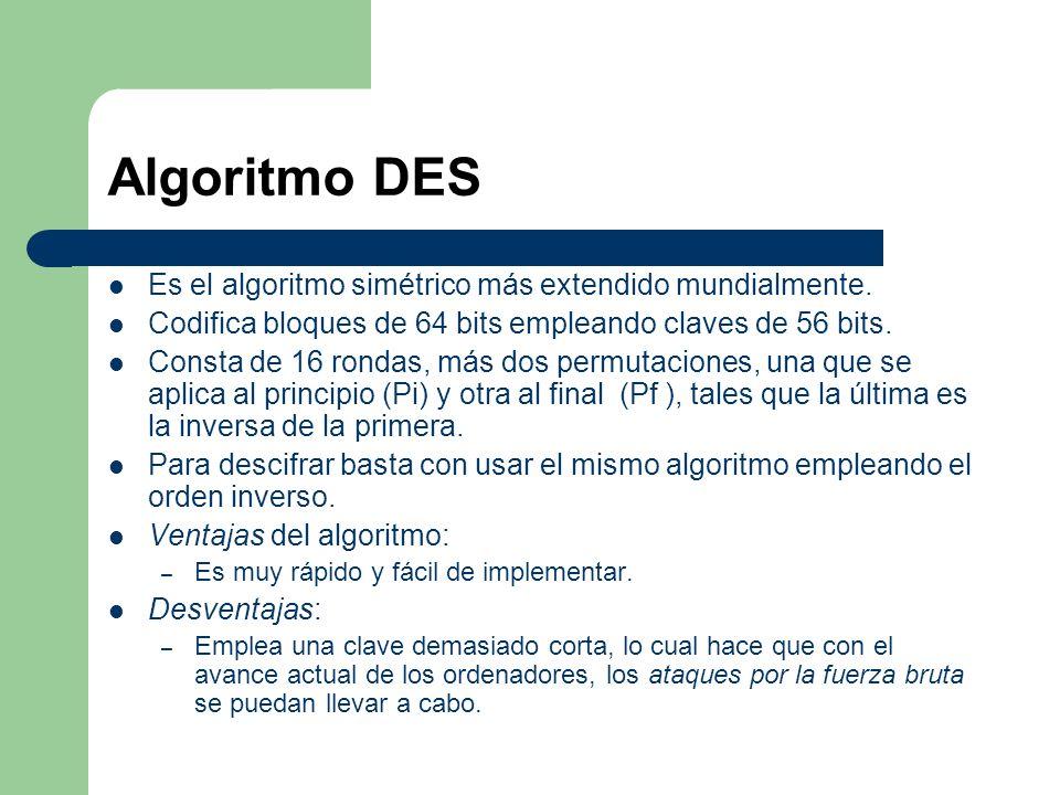 Algoritmo DES Es el algoritmo simétrico más extendido mundialmente. Codifica bloques de 64 bits empleando claves de 56 bits. Consta de 16 rondas, más