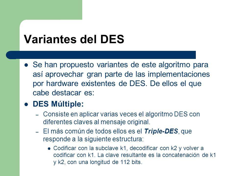 Variantes del DES Se han propuesto variantes de este algoritmo para así aprovechar gran parte de las implementaciones por hardware existentes de DES.