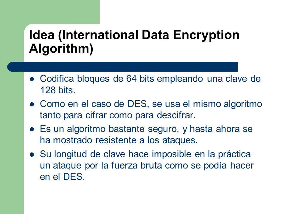Idea (International Data Encryption Algorithm) Codifica bloques de 64 bits empleando una clave de 128 bits. Como en el caso de DES, se usa el mismo al