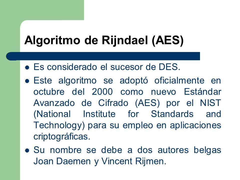 Algoritmo de Rijndael (AES) Es considerado el sucesor de DES. Este algoritmo se adoptó oficialmente en octubre del 2000 como nuevo Estándar Avanzado d