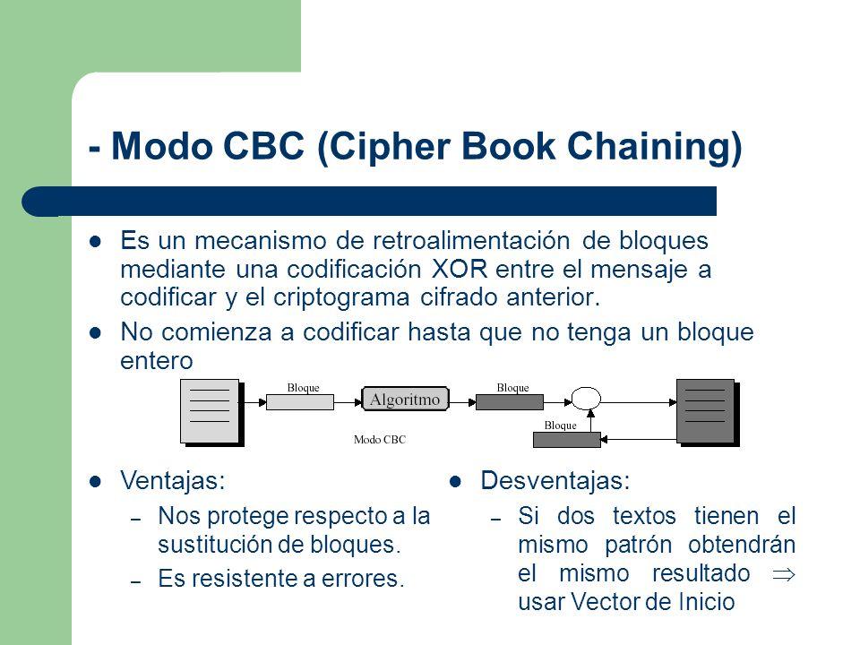 - Modo CBC (Cipher Book Chaining) Es un mecanismo de retroalimentación de bloques mediante una codificación XOR entre el mensaje a codificar y el crip