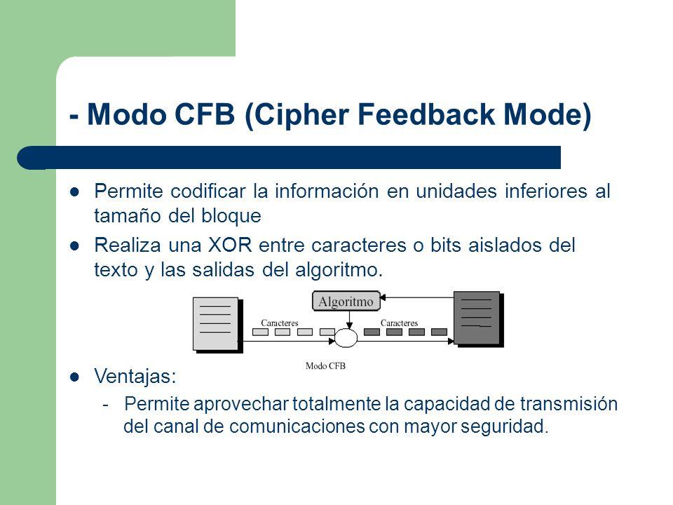 - Modo CFB (Cipher Feedback Mode) Permite codificar la información en unidades inferiores al tamaño del bloque Realiza una XOR entre caracteres o bits