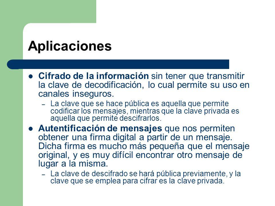 Aplicaciones Cifrado de la información sin tener que transmitir la clave de decodificación, lo cual permite su uso en canales inseguros. – La clave qu