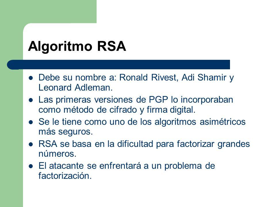 Algoritmo RSA Debe su nombre a: Ronald Rivest, Adi Shamir y Leonard Adleman. Las primeras versiones de PGP lo incorporaban como método de cifrado y fi