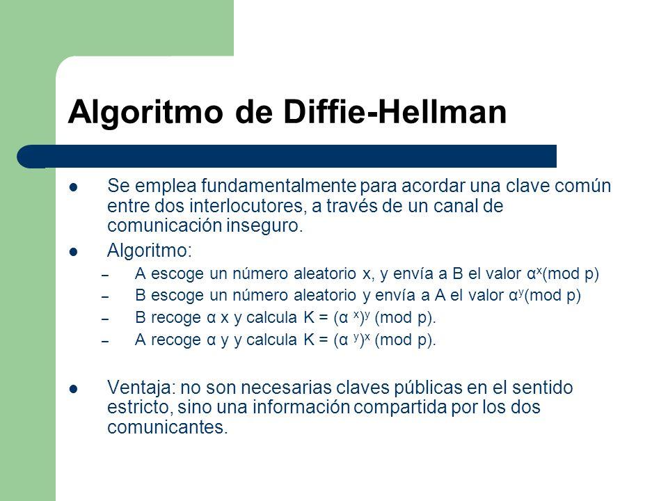Algoritmo de Diffie-Hellman Se emplea fundamentalmente para acordar una clave común entre dos interlocutores, a través de un canal de comunicación ins