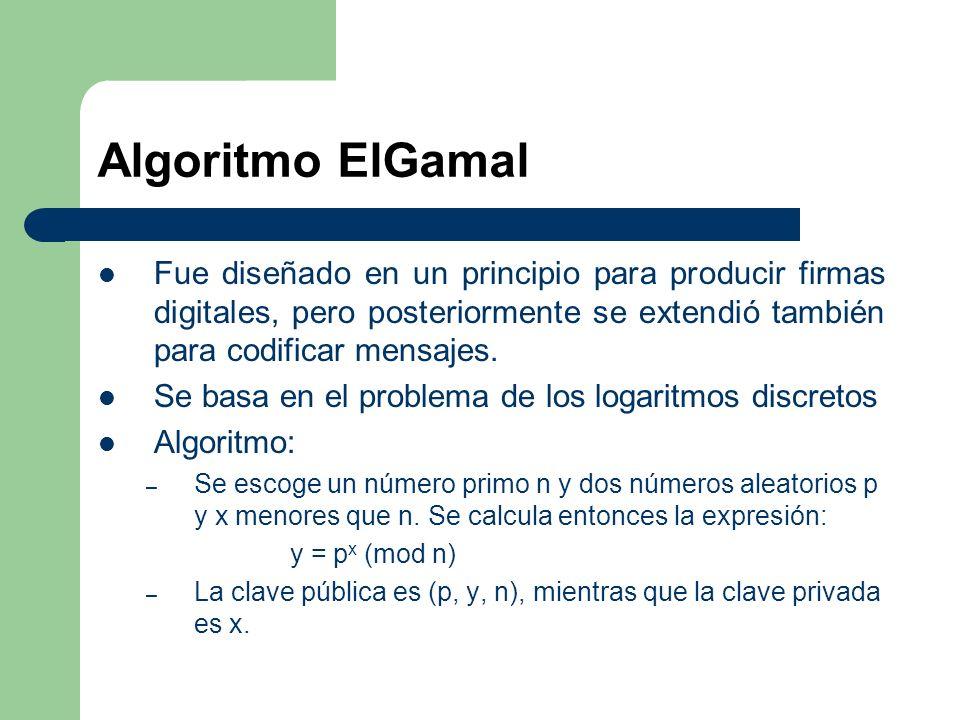 Algoritmo ElGamal Fue diseñado en un principio para producir firmas digitales, pero posteriormente se extendió también para codificar mensajes. Se bas