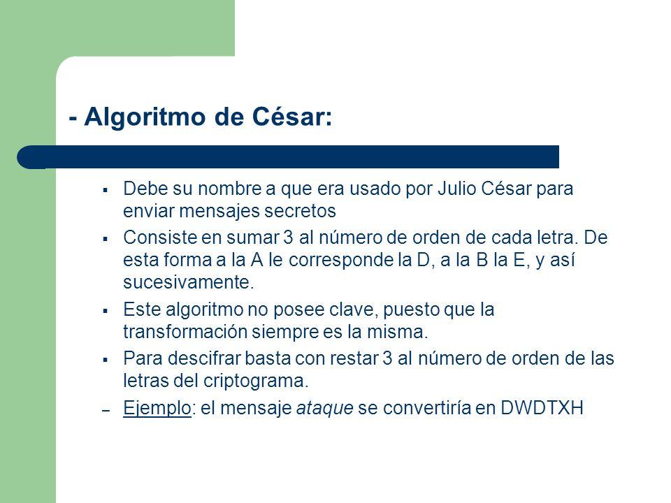 - Algoritmo de César: Debe su nombre a que era usado por Julio César para enviar mensajes secretos Consiste en sumar 3 al número de orden de cada letr